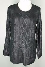 Cecico Black Wet Look Leather Look Cable Knit Tunic Sweater L 10 12