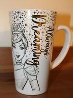 "Disney Princess Cinderella Snow White Latte Coffee Mug ""Always Dreaming"" 6"" Tall"