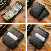 NEW Men Genuine Leather Silver Money Clip Slim Wallets ID Credit Card Holder