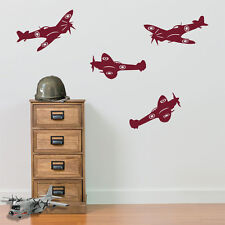 Army Airplane RAF Spitfire Aircraft Military Vinyl Wall Decor Stickers Decal A24