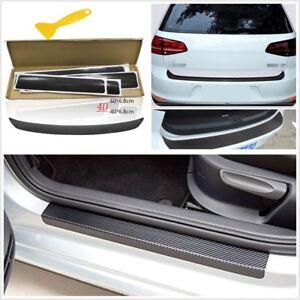 5x Universal Protector Sill Scuff Cover Car Door Plate Sticker 4D Carbon Fiber