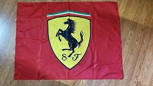 GENUINE FERRARI UNUSED FLAG WITH PRANCING HORSE 3' BY 4' MADE IN GERMANY
