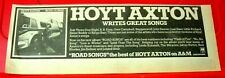 """Hoyt Axton Road Songs Vintage ORIG 1978 Press/Magazine ADVERT 13""""x 4.5"""" Country"""