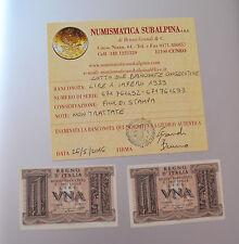 LOTTO 2 BANCONOTA REGNO D' ITALIA 1 LIRA IMPERO 1939 CONSECUTIVE certificata FDS