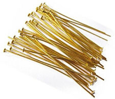 100  5cm GOLD KETTELSTIFTE NADEL NIETSTIFTE ZUBEHÖR KOPFSTIFT METALL M185