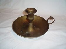 "Vintage Brass Large Candle Holder With Drip Bowl 4.5"" tall 7.75"" Wide"