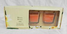 Box of Three ' White Petals' Hand Poured Square Glass Votive Candles - BNIB