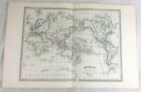 1846 Ancien Monde Carte Mercator Projection Rare Original Main Coloré Gravure