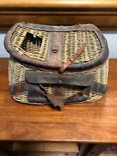 Vintage Wicker and Leather Fishing Creel Oregon Found