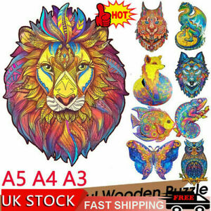 Wooden Jigsaw Puzzles Unique Animal Shape Jigsaw Pieces Adult Kid Toy Home Decor