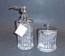 NEW HOTEL BALFOUR 2 PC CLEAR 3D GLASS CRYSTAL VERTICAL CUT SOAP DISPENSER+JAR