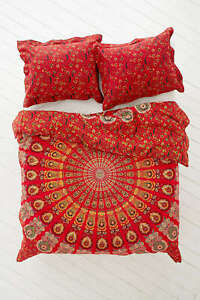 Queen Size Mandala Hippie Gypsy Indian Red Quilt Duvet Cover Bedding Set
