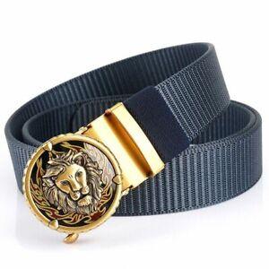 Mans Belt Nylon Gold Lions Metal Automatic Buckle Canvas Fashion Jeans Waistband