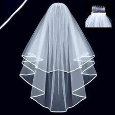 Women Short Beautiful White 2T Wedding Bridal Elbow Satin Edge Veil With Comb