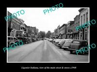 OLD HISTORIC PHOTO OF LIGONIER INDIANA, VIEW OF THE MAIN STREET & STORES c1940