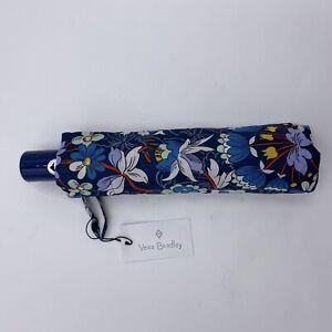 NEW Vera Bradley UMBRELLA in FLORAL BURST Pattern, Auto Open/Close, Blue, NWT
