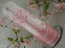 Taufkerze Kommunionkerze Lebensbaum rosa silber mit Sternen für Mädchen