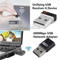 For Logitech Unifying 1 to 6 Devices Receiver USB 600Mbps WiFi Network Adapter