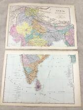 1891 Antique Map of India Hindustan Indian Continent Original 19th Century Maps
