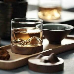 Glass Wooden Mountain Tea Wine Bottom Whiskey Cups Bar Whiskey W/ Wooden holder