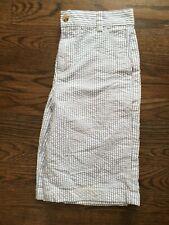 Vineyard Vines Boys Seersucker Bermuda Shorts Blue White Striped Pockets Sz 12