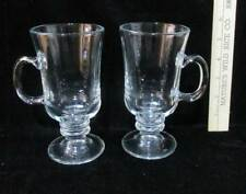 Irish Coffee Cups Mugs Clear Glass w/ Handle & Footed Pedestal Base Set 2 Pair