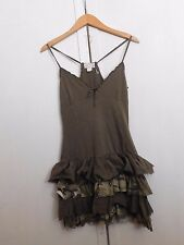 Camouflage Army Green Summer Dress with Ruffles Size L