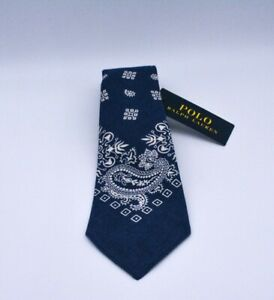 Ralph Lauren Polo All Silk Paisley Blue Tie Made In Italy Brand New With Tags