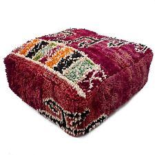 Vintage Wool Pouf Ottoman Handmade Boho Square Cushion Moroccan Handwoven Pouf