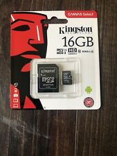 Kingston Micro SD 16GB SDHC Memory Card Mobile Phone Class 10 With SD ADAPTER