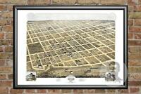 Old Map of Denison, TX from 1873 - Vintage Texas Art, Historic Decor
