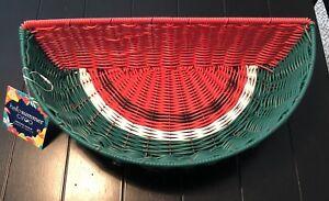 "Ciroa Hello Summer Watermelon Resin Wicker Serving Basket 17"" New"