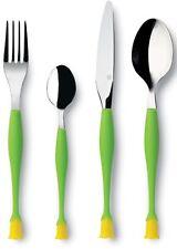 Stunning 4 Piece EMY Stainless Steel Green Flower Bud Design Handle Cutlery Set