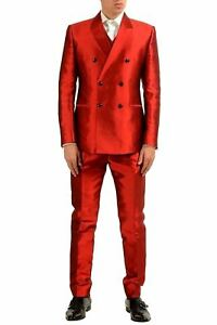 Dolce & Gabbana Men's 100% Silk Red Double Breasted Three Piece Suit US 38 IT 48