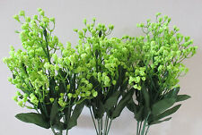 Set of 3 Lime Green Artificial Gypsophila Spray - 35cm - Green Flowers