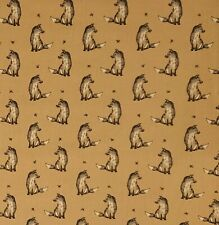 Felix Fox - Taupe 100% Cotton Novelty Print bunting Dress Craft Fabric