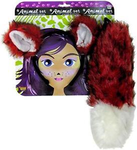 Fox Eared Headband & Tail Accessory Kit Red/Black/White Faux Fur Animal Kit