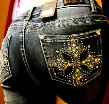 EARL JEANS Skinny Stretch Bling Rhinestone Cross Sexy! SIZE 16 NEW