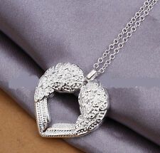 Elegant 925 Sterling Silver Solid Angel Wing Heart Chain Woman Necklace N-A329
