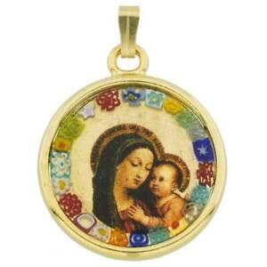 GlassOfVenice Murano Glass Madonna And Child Millefiori Pendant