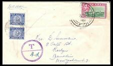 FIJI TO NEW ZEALAND 1951 4d TO PAY DUES COVER (ROUGH)