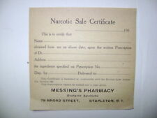 OLD NARCOTIC-APOTHECARY-PHARMACY-MEDICINE BOTTLE LABEL/CERTIFICATE