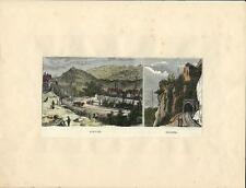Stampa antica AIRUNO panorama tunnel treno Brianza Lecco 1877 Old antique print