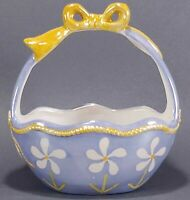 Blue and Yellow Lusterware Porcelain Easter Basket Figurine