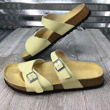Birki's Yellow Double Buckle Adjustable Strap Slides Comfort Sandal Shoe Sz 39/8