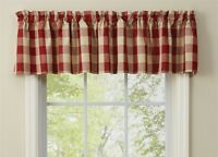 GARNET RED BUFFALO CHECK VALANCE : COUNTRY TAN PLAID CABIN WINDOW WICKLOW