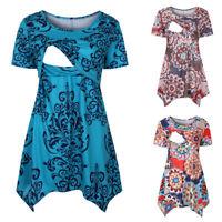 Women Maternity Print Tee Shirt Pregnancy Tunic Nusring Short Sleeve Tops Blouse