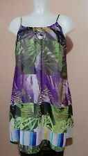 Suzy Shier Abstract Leaf-print Chiffon Mini Dress, XS on tag