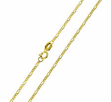 "14K Solid Real Yellow Gold Figaro Chain Necklace 1.2 mm 20"" (1/16) Baby Children"