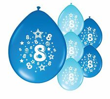 "10 X 8th BIRTHDAY/ AGE 8 BOY BALLOONS ""8 TODAY""  BIRTHDAY BALLOONS BLUE MIX"